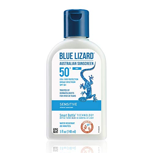 BLUE LIZARD Sensitive Mineral Sunscreen with Zinc Oxide, SPF 50+, Water Resistant, UVA/UVB Protection with Smart Bottle Technology – Fragrance Free, 5 oz