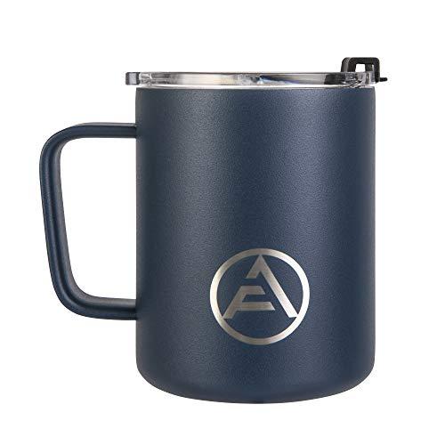 EAF Stainless Steel Coffee Mug with Handle, Double Wall Insulated Travel Mug Camping, 12 oz Coffee Tumbler Cup for Home Office Outdoor Hot Cold Water Beer Wine Soda - Powder Coated Navy Blue