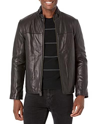 Cole Haan Men's Smooth Lamb Convertible Collar Jacket, Black, Medium