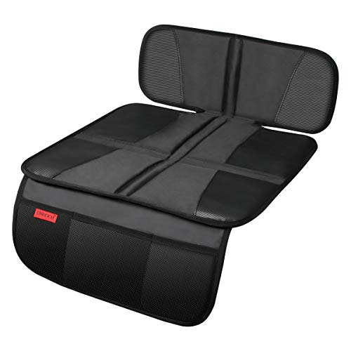 Car Seat Protector - Seat Protection Mat - Thick Padding - (Best Coverage Available), Durable, Waterproof Fabric, PVC Leather Reinforced Corners & 3 Pockets for Handy Storage Black …