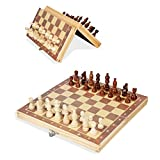 JZK Schach-Set Magnetisch Schachfiguren Faltbar Holz Schachbrett Internationales Schachset für Kinder Party Familienaktivitäten 29 x 29 cm