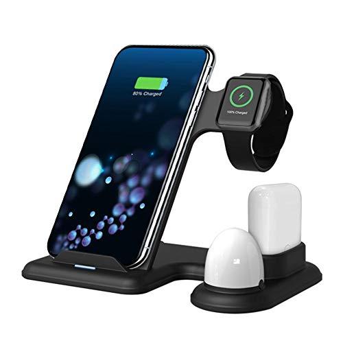 Cargador inalámbrico 4 en 1 soporte de carga inalámbrico para Apple Watch y estación de carga de Airpod para múltiples dispositivos de carga rápida para iPhone Samsung (sin adaptador de CA)