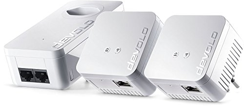 Devolo dLAN 550 WiFi Network Kit Powerline (500 Mbit/s internet via het stopcontact, 300 Mbit/s over WLAN, 1x LAN Port, 3x Powerlan Adapter, PLC netwerkadapter, WiFi Move) wit - Zwitserse stekker