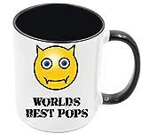 Emoji-Geschenktasse mit der Aufschrift 'World's Best Pops', personalisierbar