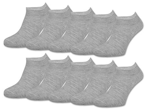 10 | 20 | 30 Paar Sneaker Socken Damen und Herren Schwarz und Weiß Baumwolle (35-38, 10 Paar | Grau)