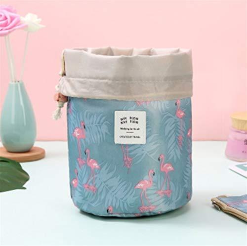 Grande Capacité 1 pcs Femmes cylindre Sac cosmétique Voyage en forme de corde Tirer Organisateur de maquillage Make Sacs Case Up Pouch Wash toilette (Color : Blue Flamingo)