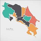 Poster 40 x 40 cm: Costa Rica Landkarte modern abstrakt mit