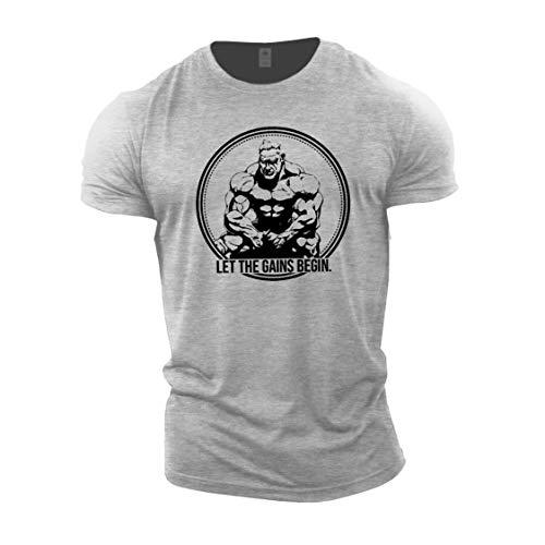 GYMTIER Bodybuilding-T-Shirt der Männer - Jay Cutler Let The Gains Begin - Fitness-Trainingsoberteil