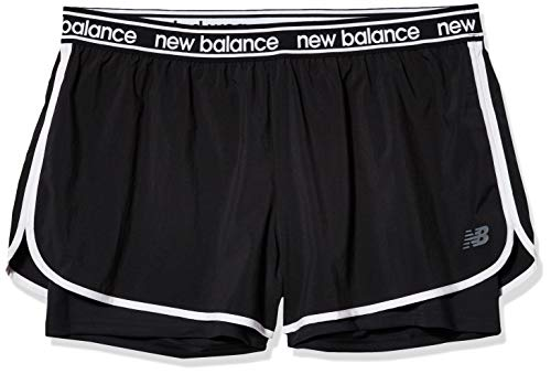 New Balance WS01177 Pantalones Cortos Deportivos para Mujer, Negro, XS