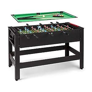 Klarfit Spin 2 en 1 mesa de juegos con billar y furbolín, mesa de billar de 105 x 58 cm / revestimiento en verde, futbolín, incluye accesorios de juego, mesa giratoria para cambiar de juego, negro