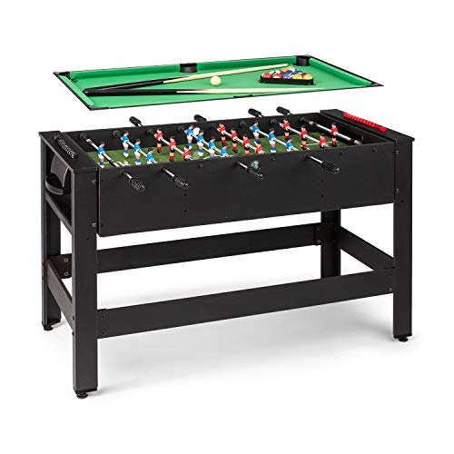 Klarfit Spin 2 en 1 mesa de juegos con billar y furbolín, mesa de billar de 105 x 58 cm / revestimiento en verde, futbolín, incluye accesorios de juego, mesa giratoria para cambiar de juego, neg