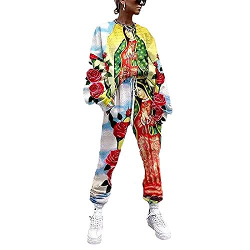 YZJYB Conjunto Deporte Mujer Chándal Conjuntos Deportivos Manga Larga Sudadera Y Pantalon con Cordón Ropa Asual Hipster Sweatshirts con Cordón Bolsillos,Multi Colored,XXS