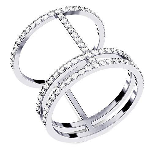 Ring Silber 925 breit Zirkonia Ring dreireihig triple Zirkoniaring filigran echt Silber dreier Silberring mit Steinen für Freundin FF608 SS925ZIFA54