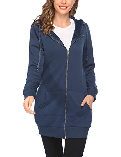 Zeagoo Damen Casual Zip Up Fleece Hoodies Tunika Sweatshirt Lange Hoodie Jacke - Blau - Large