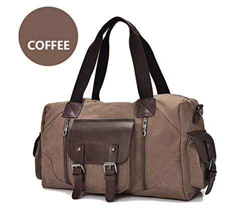 Canvas Leather Luggage Handbags Large Travel Bag Canvas Travel Bags Male/FeTravel Shoulder Bags, brown (Brown) - TB190803