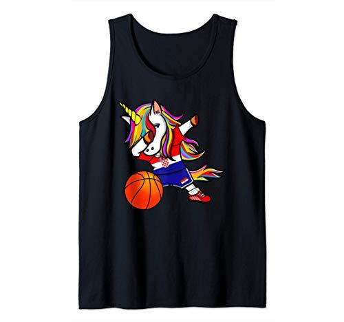 Dabbing Unicorn Kroatien Basketball - Kroatische Flagge Tank Top