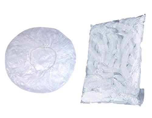 Gorros de ducha de pelo desechables de 100 piezas paquete individual gorros de ducha de plástico para mujeres para viajes de spa uso doméstico hotel peluquería