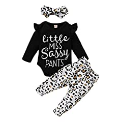 Material---Pure cotton fabric for little sassy girls clothing. Soft and breathable, skin friendly for baby. Best gift for your little one. Cute Infant Baby Girl Outfits Sets---Long sleeve ruffles romper bodysuit, Leopard pants, matching bowknot headb...