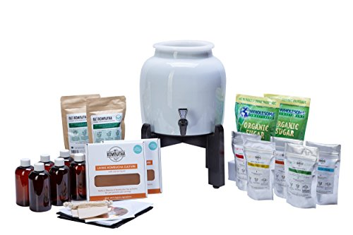 PREMIUM Kombucha Continuous Brew Kit System - Drink Kombucha Tea On Tap (Making A Lifetime Of Home Brewed Kombucha Tea Easy For You) GetKombucha® - Includes 2.5 Gallon Porcelain Brewing Vessel w/ Handcrafted Wood Brewer Stand - 2 Non Dehydrated HUGE Organic Kombucha SCOBY Cultures w/ Free Live Starter Mother Liquid - Organic Whole Leaf Tea Blend and Sugar - Bottles For Flavoring - Ph Strips - All Natural Ingredient Boosters for Flavor, Energy, Digestion, Weight Loss, Health and Happiness - Recipe Guides - Our Crock Jars with Dispenser Spigot are Triple Certified Lead Free and Guaranteed To Make Twice As Much Booch In Half The Time !