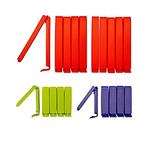 clip2friend Set Nr. 4 | 20 Tüten-Clips/Beutel-Clips/Gefrierbeutel-Verschluss-Clips/Aromaclips/Verschlussklemmen in den Farben rot (11 cm Länge), blau und grün (6 cm Länge)