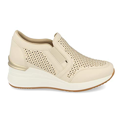 Zapatillas Mujer Estilo Urban Casual con Cuna, Plataforma, Exterior Calado, Strass y Cierre Elastico. Deportivas Modernas, comodas y de Tendencia.