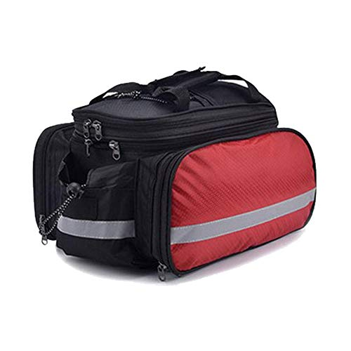 LCGJ Bicycle Bike Backpack Cycle Rear Seat Trunk Bag Waterproof Nylon Carrier Rack Bag Multi Function Luggage Bag for Cycling Travel with Reflective Tape-27L-red