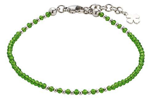 CIAO! BY LEONARDO Damen-Armband Pina Mini's, Edelstahl mit grünen Schliff-Glasperlen und Anhänger, mit Karabinerverschluss, Länge 170 mm, 016919