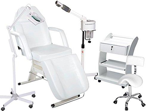 Kosmetikkabine Liege Bedampfer Lupenlampe Arbeitsstuhl Beistelltisch Salon 900202b weiß