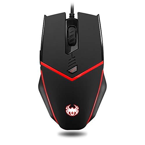 Wired Gaming Mouse Einstellbar 3200 DPI Ergonomische LED-Hintergrundbeleuchtung Pro Computer Spiele Maus Für PC Laptop Spielen CS LOL Hohe Qualität,Black