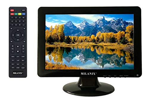 Milanix 12 Inch LED Widescreen HDTV Television with HDMI, VGA, Built in Digital Tuner, AC/DC Compatible
