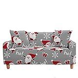 Meiju 3D Fundas de Sofá Elasticas de 1 2 3 4 Plazas, Navidad Ajustables Cubierta de Sofá Cubre Sofa Antideslizante Funda Cubre Sofas Furniture Protector (Copos Nieve Grises,3 plazas - 190-230cm)