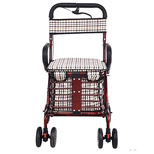 YASEking Hospital de tranvía, Suministros Médicos en rack, ligero silla de ruedas plegable de conducción médica, ancianos Viajes silla de ruedas portable de la mano empuje de las compras de la rueda g