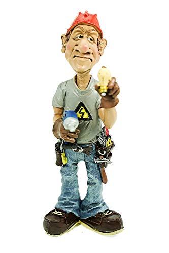 Elektriker Figur Hobby Beruf Aufstellfigur Karikatur 18,0x7,0cm Dekofigur VG19
