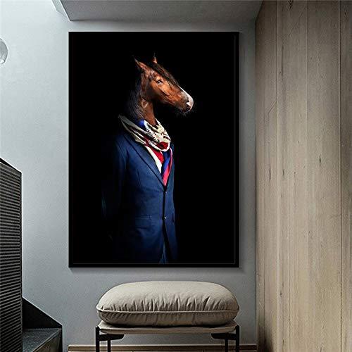 Frameloze schilderij Abstract dier muurschildering elegant paard olifant leeuw vos wolf poster versieren woonkamerAY6444 40X60cm