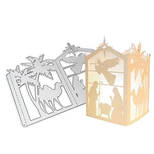 wenjuersty Weihnachts-Laterne Metall Stanzschablone DIY Scrapbooking Album Stempel Papier Karte Prägung Basteln Dekoration