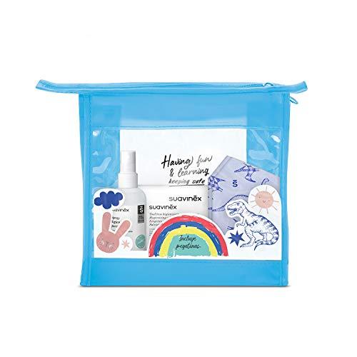 SUAVINEX Neceser Higienizante con 2X Mascarillas Higiénicas Reutilizables Niños 6-10 Años + Spray Higienizante 100Ml + Toallitas Higienizantes Manos + Pegatinas, 5 Productos, Azul