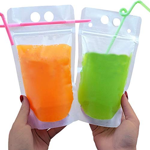 Drink Pouches Container for Adults with Straws of Individually Wrapped & Funnel, Upgraded Anti-Leaked Stand-up Reusable Ziplock Smoothie Bags for Caprisun Cold & Hot Drinks, Juice, Smoothie - 50 Set