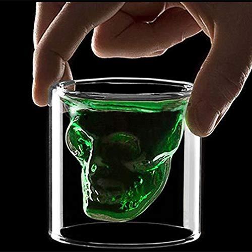 DOROCH Tazas 25ml-250ml Doble Pared Skull Skiskey Whiskey Bar Gafas de Vino Copa de Vidrio Cristal Cráneo Cabeza Vodka Tiro Copa de Vino (Capacity : 25ml)