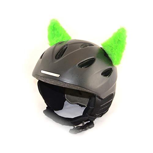 Helm-Hörnchen für den Skihelm, Snowboardhelm, Kinder-Helm, Kinder-Skihelm oder Motorradhelm - verwandelt den Helm in EIN EINZELSTÜCK - für Kinder und Erwachsene HELMDEKO (Fellhörnchen Hellgrün)