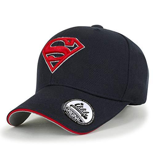 ililily Superman Shields Embroidery Vintage Baseball Cap Casual Trucker Hat, Navy