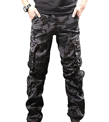 Pantalones Cargo Hombre Mens Cargo Pants Pantalón Trabajo Hombre Pantalon Camuflaje Trekking Tactico Hombre Bombachos Pantalones Jogger Militares Multibolsillos Hombre Cargos Talla Grande Negro 38