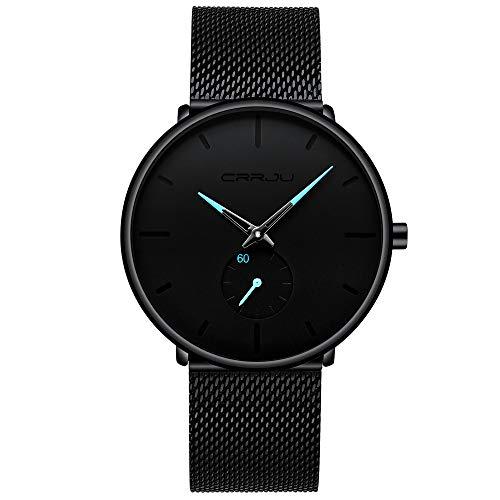 Infinito U-Reloj Negro Ultra Fino para Hombre Minimalista Moda Relojes de Pulsera para Hombres Casual Impermeable Reloj de Cuarzo para Hombre con Banda Negro de Acero Inoxidable