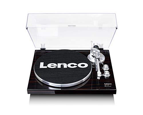 Lenco LBT-188 Plattenspieler - Bluetooth Plattenspieler - Riemenantrieb - 2 Geschwindigkeiten 33 u. 45 U/min - Anti-Skating - Vinyl zu MP3 digitalisieren - Dunkelbraun
