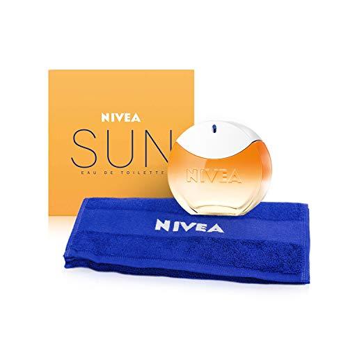 NIVEA SUN EdT Eau de Toilette (1 x 30 ml) mit dem Original NIVEA SUN Sonnencreme Duft, Unisex, sommerlicher Damenduft im ikonischen Parfum-Flakon, inclusive Gäste-Handtuch, 1er Pack