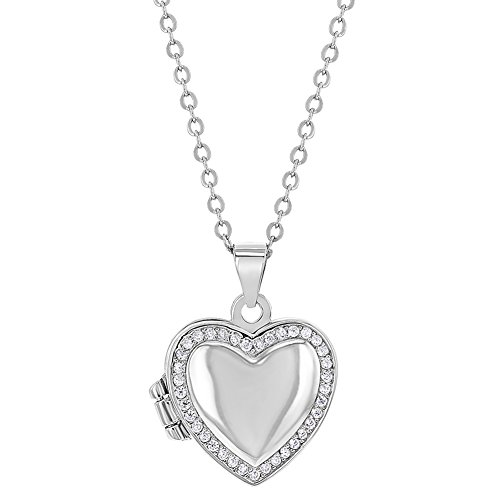 925 Sterling Silver Pink Cubic Zirconia Heart Photo Locket Girls Necklace 16""