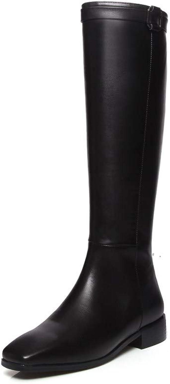 Nine Seven Genuine Leather Women's Square Toe Chunky Heel Handmade Comfort Winter Leather Knee High Boots