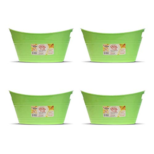 Oval Plastic Storage Tubs With Handle - Small Size: (12.8' X 9' X 6.3') - Oval Plastic Tub With Handle - Beverage And Ice Bin - Store Small Items At Home, Classroom, Beauty Salon. (4-pack, Green)