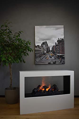 Elektrokamin Raumteiler - GLOW FIRE Goethe, Opti Myst Wasserdampf Feuer, elektrischer Standkamin mit Fernbedienung, regelbare Flammenstärke