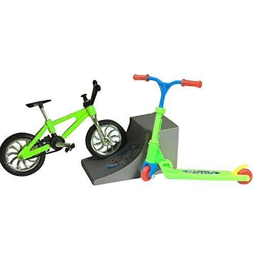 AmandaJ Mini dedo ligero Skateboard Set Mini Finger Skateboards/Bicicletas/Swing Boards Juguete educativo para niños
