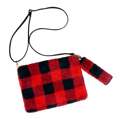 Vegan Leatherette Clutch Flat Pouch Purse - Travel Convertible Bag Wallet Shoulder-Crossbody Wristlet Strap Plaid Fabric (Convertible Pouch - Fuzzy Buffalo Plaid/Red)